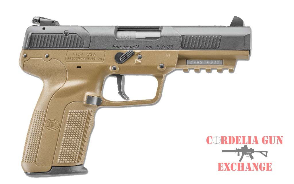 The FN Five-seveN FDE 57x28MM Pistol is available in California from Cordelia Gun Exchange!