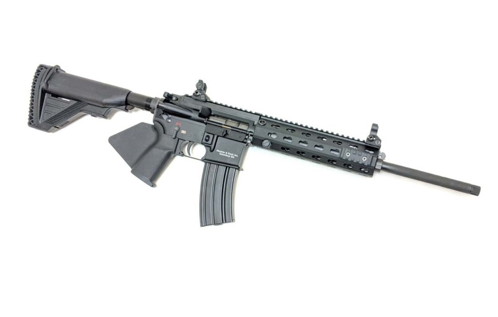 MR556 For California! A direct descendent of the HK416, the HK MR556A1 556x45mm rifle is a semi-automatic rifle developed by Heckler & Koch.