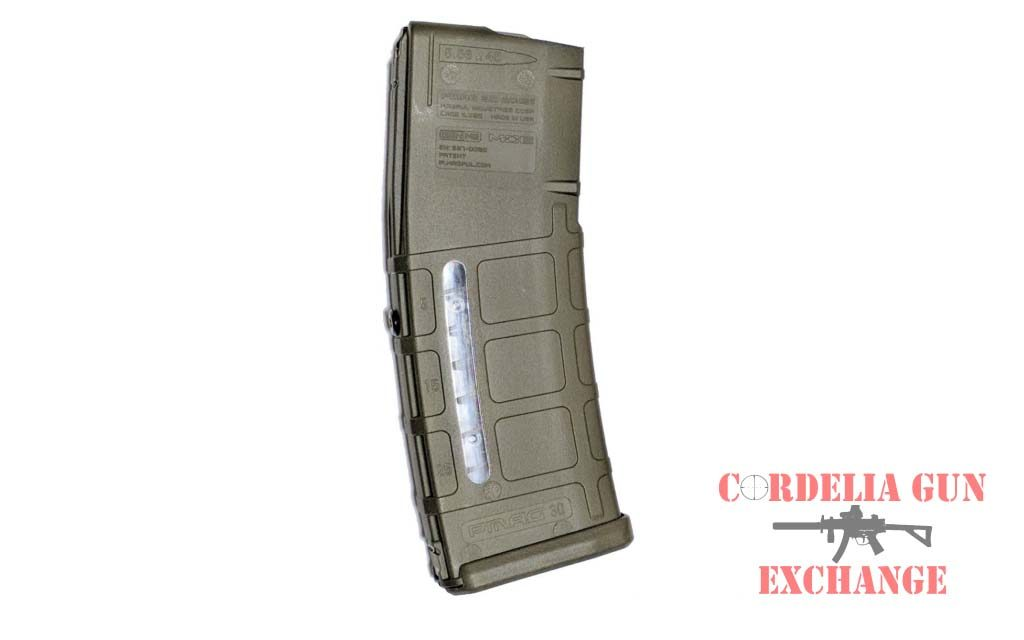 The Magpul 10-30 Window 556mm ODG AR15 Magazine is legal in California, New York, Connecticut, DC, Maryland and Massachusetts! Available from Cordelia Gun Exchange!