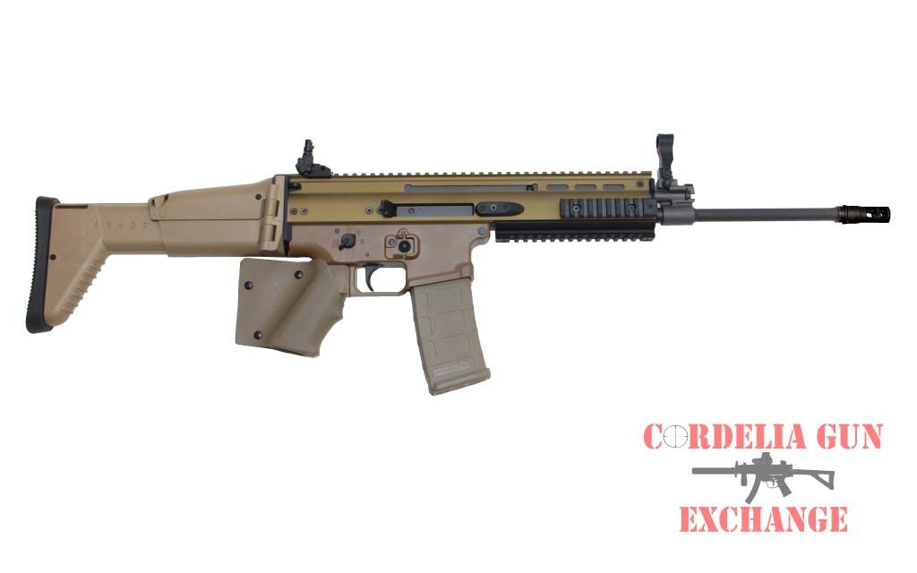The California compliant featureless FN SCAR 16S 556mm FDE Rifle is available from Cordelia Gun Exchange!