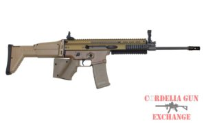 California legal Featureless FN SCAR 16S 5.56 FDE RIFLE with stock block. Available from Cordelia Gun Exchange.