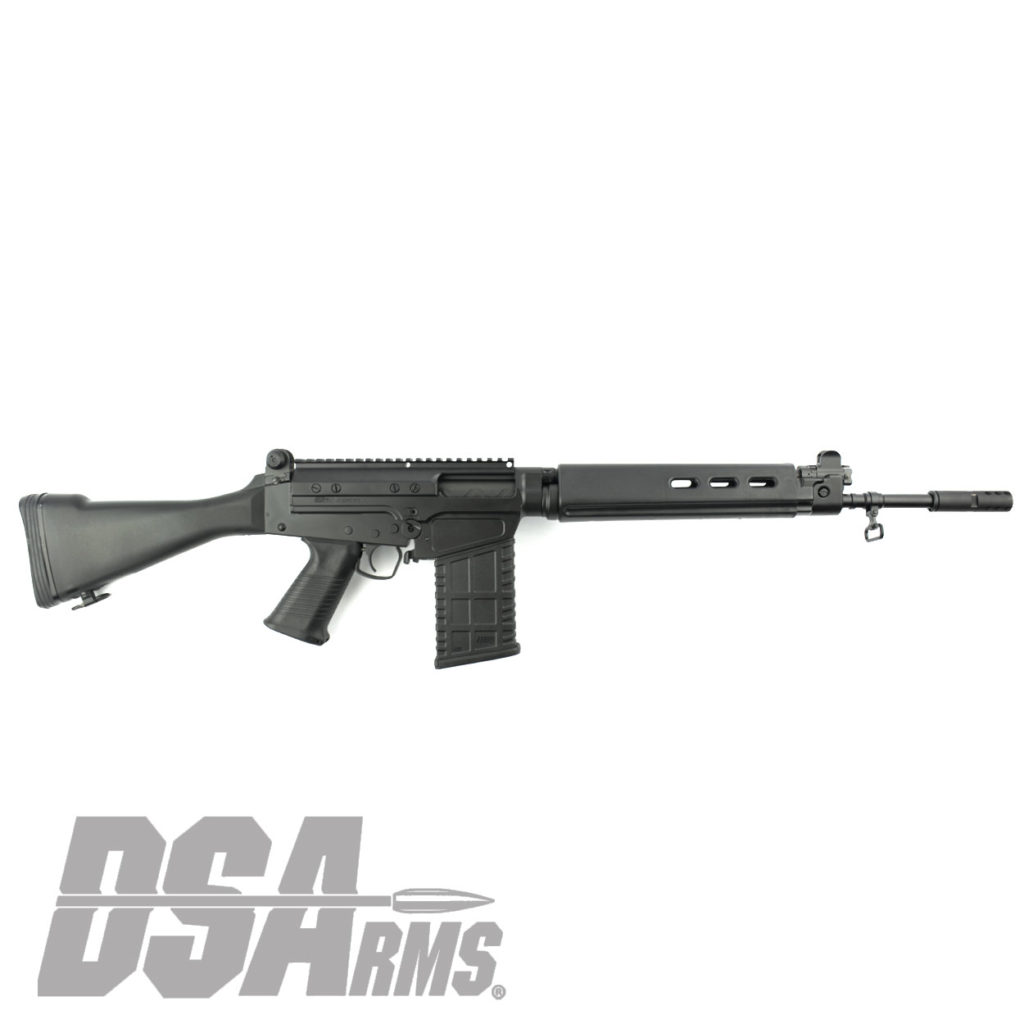 The DSA SA58 FAL 18 Inch Range Ready Traditional Carbine rifle exceeds the quality of any FAL type rifle produced. CA Legal, Featureless with a 10/20 Magazine.