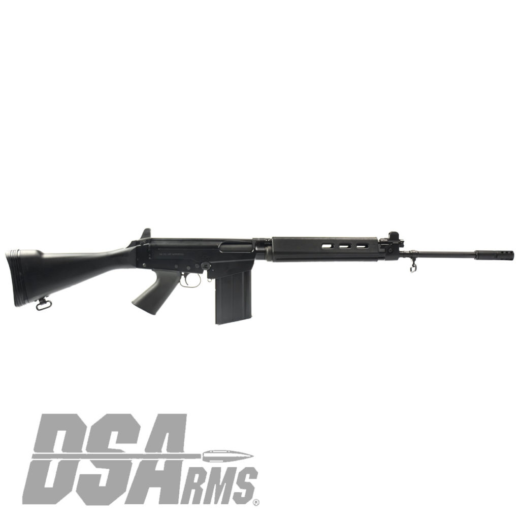 California legal DSA SA58 FAL Cold Warrior rifle with 21 inch traditional profile barrel and fixed stock.