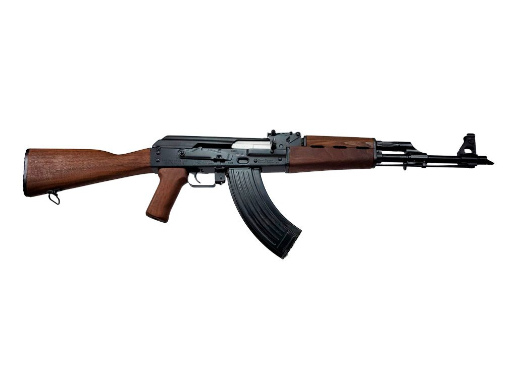 California legal Zastava Arms ZPAP M70 AK47 style 7.62x39 rifle. The new 1.5mm bulged trunnion & chrome lined barrel ZPAP! The CA legal ZPAP M70 AK-47 is fitted with a Strike Industries AK fin grip to make it a featureless rifle.