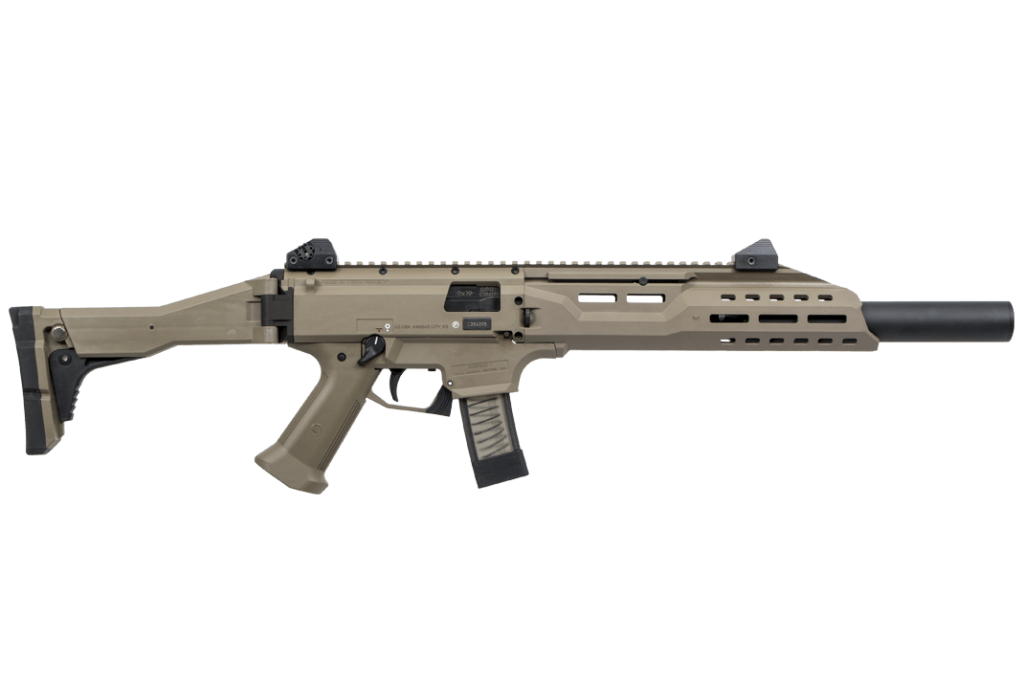 Own the California Compliant CZ Scorpion 9mm FAUX Suppressor FDE carbine, which Available right here at Cordelia Gun Exchange!