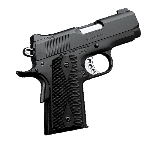 With a short grip and 3-inch bull barrel, the Kimber Ultra Carry II 45ACP pistol is easy to conceal and comfortable to carry.