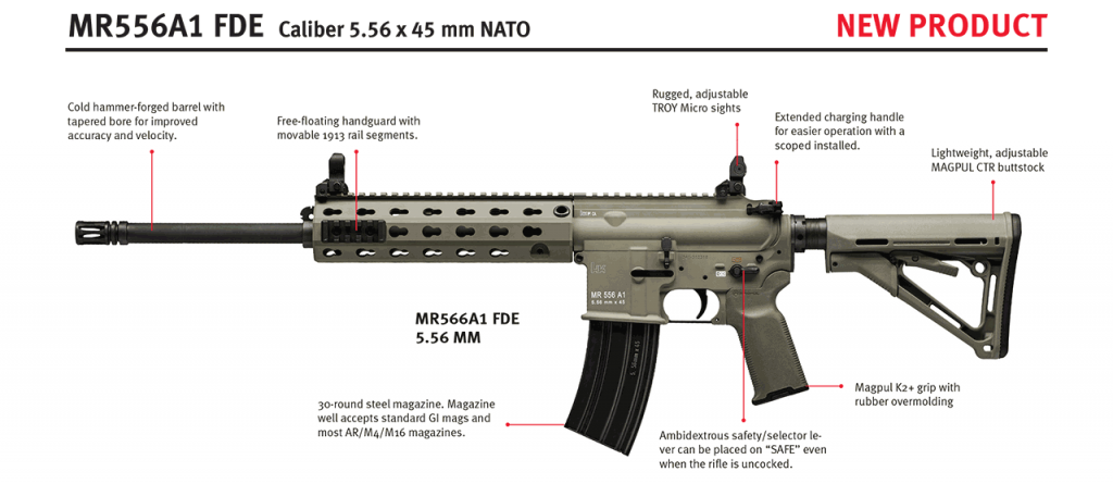 HK MR556A1 556x45mm FDE rifle For California! A direct descendent of the HK416, the MR556A1 is a semi-automatic rifle developed by Heckler & Koch as a premium level commercial/civilian firearm with match rifle capability. Like the HK416, the MR556A1 is a major product improvement over conventional AR-type carbines and rifles.