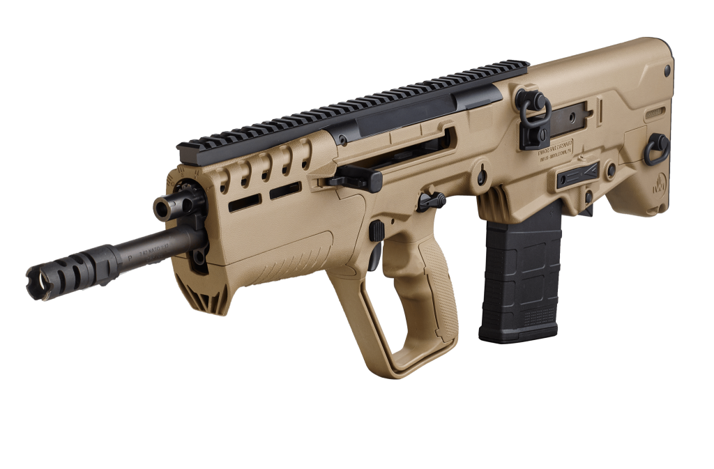 California legal IWI Tavor 7 308WIN FDE Finally available in California in a featureless configuration, the Tavor 7 brings .308 firepower to the smallest possible package!
