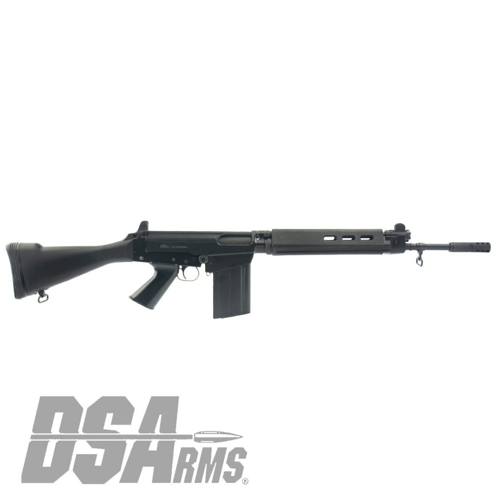 "California legal DSA SA58 FAL Bush Warrior carbine with 18"" traditional profile barrel and fixed stock."