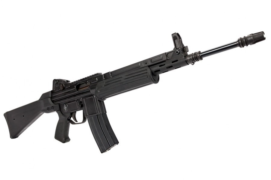 MarColMar Cetme-L 5.56mm Black Rail CA legal The Cetme-L is a unique roller-locked rifle that is a must have in your collection! Takes metal AR15 magazines!