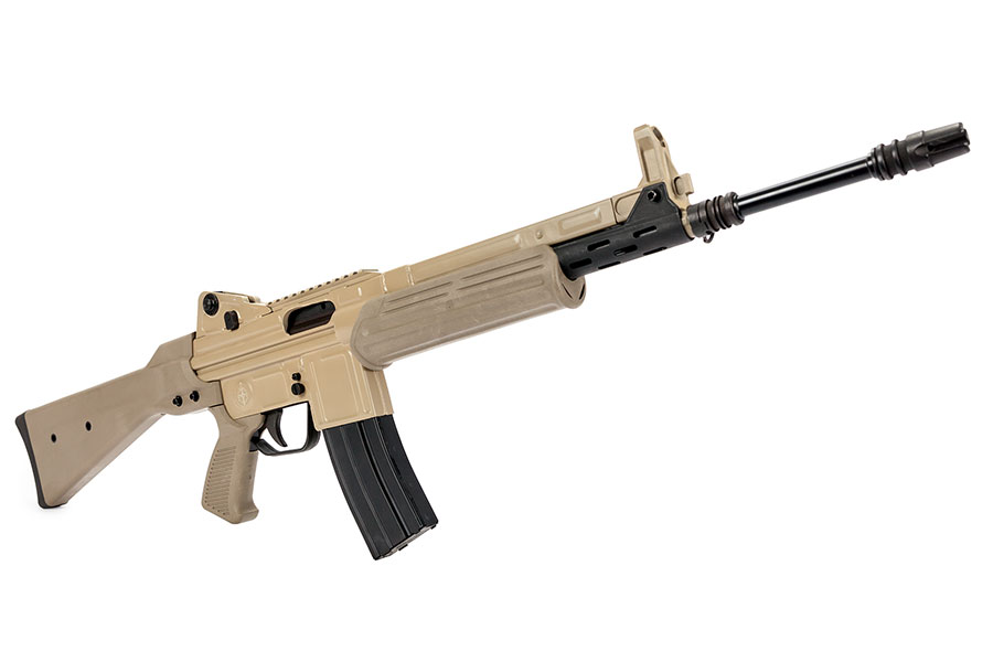 MarColMar Cetme-L 5.56mm FDE Rail CA legal The Cetme-L is a unique roller-locked rifle that is a must have in your collection! Takes metal AR15 magazines!